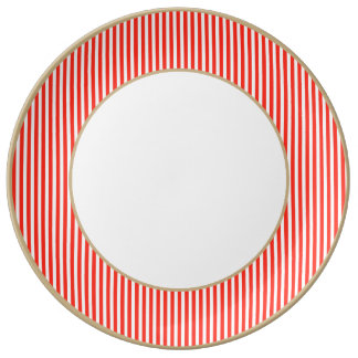 Circus Red and White Cabana Stripes Porcelain Plates