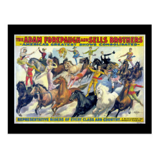 Circus Riders Vintage Theater Poster Postcard