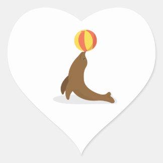 Circus Seal Heart Sticker