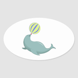 Circus Seal Oval Stickers