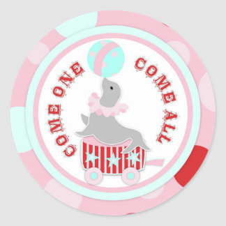 Circus Seal with Ball Birthday Label Round Sticker