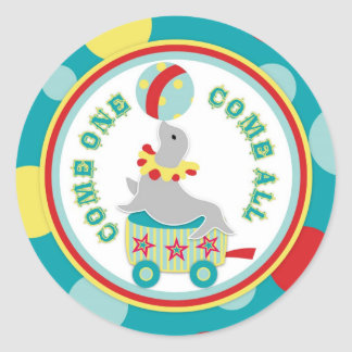 Circus Seal with Ball Birthday Label Classic Round Sticker