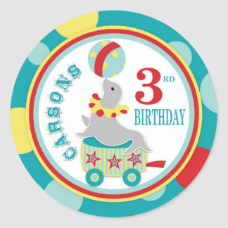 Circus Seal with Ball Birthday Round Sticker