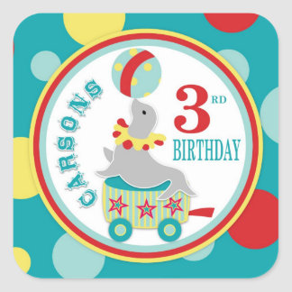 Circus Seal with Ball Birthday Square Sticker