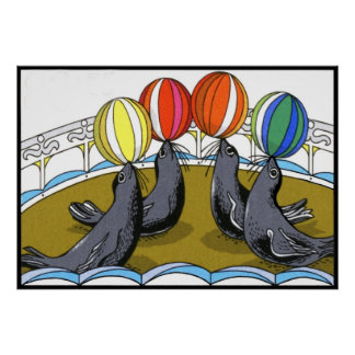 Circus Seals (in 23 sizes) Poster