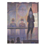 Circus Sideshow by Seurat, Vintage Pointillism Art Postcard