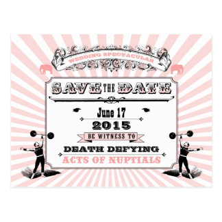 Circus Steampunk Wedding Spectacular Save The Date Postcard