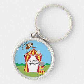Circus Tent and Animals Birthday Keychain