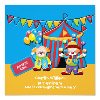 Circus Tent and Clowns Birthday Party 13 Cm X 13 Cm Square Invitation Card