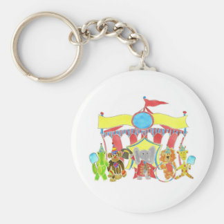 Circus Tent Critters Basic Round Button Key Ring