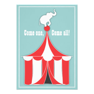 Circus Tent Elephant Kids Birthday Party Personalized Invite