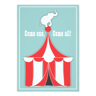 Circus Tent & Elephant Kids Birthday Party 13 Cm X 18 Cm Invitation Card