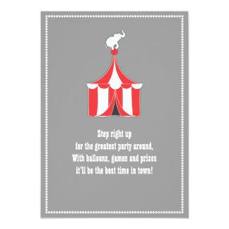 Circus Tent & Elephant Kids Birthday Party Custom Announcement