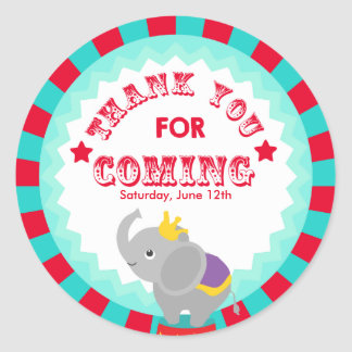 Circus Thank you favor tag Round Sticker