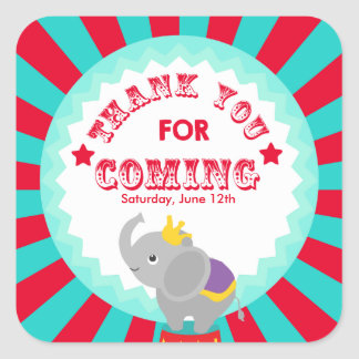 Circus Thank you favor tag Square Sticker
