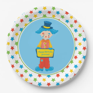 Circus Theme | Clown | Personalized 9 Inch Paper Plate