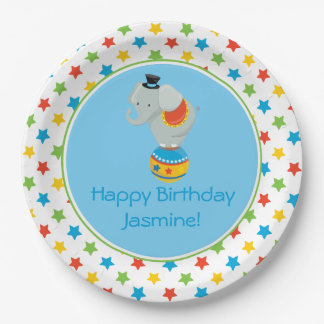 Circus Theme   Elephant on Ball   Personalized 9 Inch Paper Plate