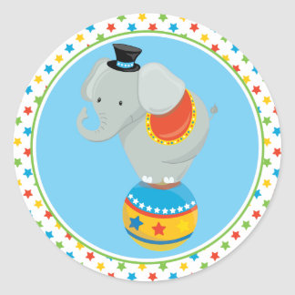 Circus Theme | Elephant on Circus Ball Classic Round Sticker