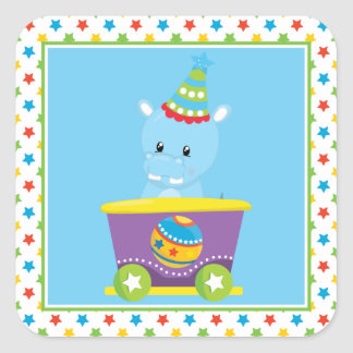 Circus Theme | Hippo| Personalized Square Sticker