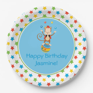 Circus Theme   Juggling Monkey   Personalized 9 Inch Paper Plate