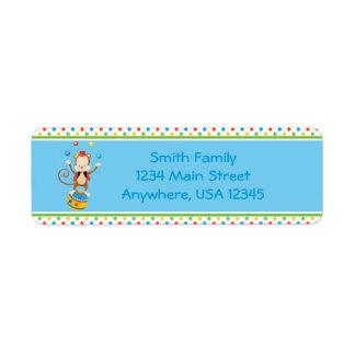 Circus Theme | Juggling Monkey |  Personalized Return Address Label