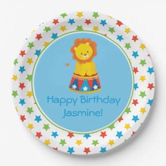 Circus Theme   Lion   Personalized 9 Inch Paper Plate