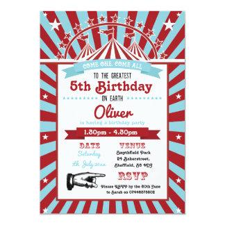 Circus themed birthday party invitation