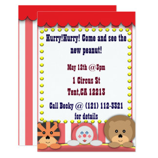 Circus themed invitation