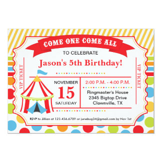 Circus Ticket Birthday Party Card