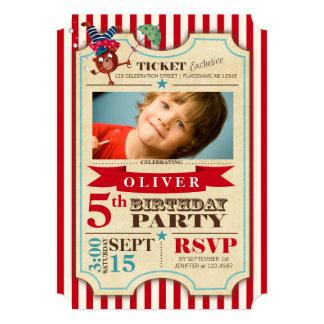 "Circus Ticket | Birthday | Photo Party Invitation 5"" X 7"" Invitation Card"