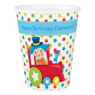 Circus Train | Clown | Personalized Paper Cup