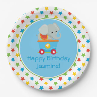 Circus Train | Elephant | Personalized 9 Inch Paper Plate