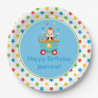 Circus Train   Juggling Monkey   Personalized Paper Plate