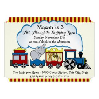 Circus Train Kids Birthday Custom Invitation
