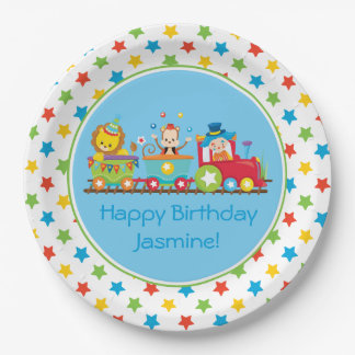 Circus Train | Monkey | Lion | Clown| Personalized Paper Plate