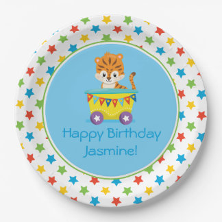 Circus Train | Tiger | Personalized 9 Inch Paper Plate