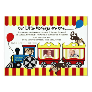 Circus Train Twin Photo Personalized Announcements