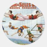 Circus Trapeze Round Sticker