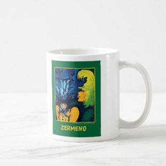 """Cirque Mère Et Enfant"" (dark green) by Zermeno Basic White Mug"