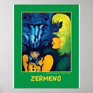"""Cirque Mère Et Enfant"" (medium green) by Zermeno Poster"