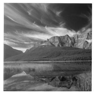 Cirrus clouds over Waterfowl Lake, Banff Tile