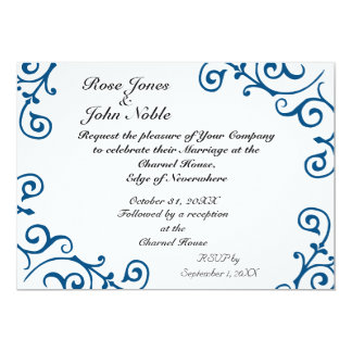 Cirrus Ivory (Blue) Wedding Invitation