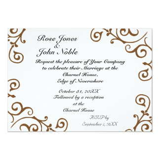 Cirrus Ivory (Brown) Wedding Invitation