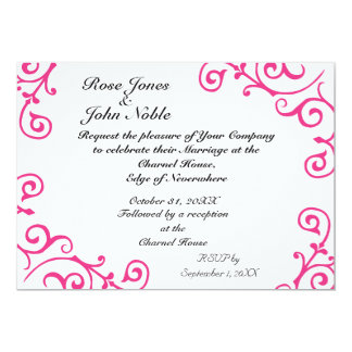 Cirrus Ivory (Magenta) Wedding Invitation