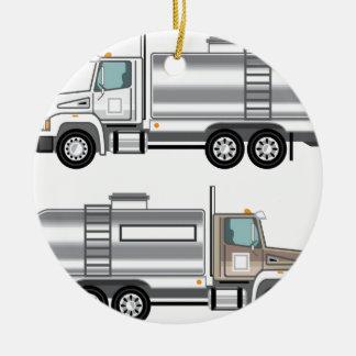 Cistern Truck Liquid Cargo Round Ceramic Decoration