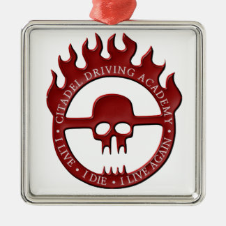 Citadel Driving Academy - Red Silver-Colored Square Decoration