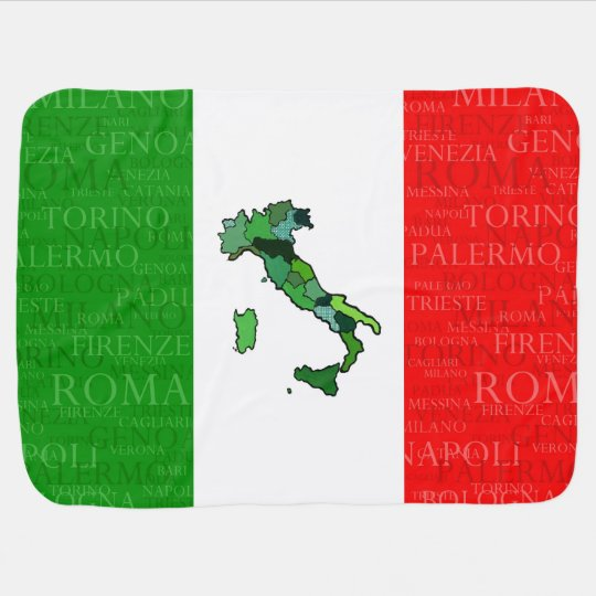 Cities, Map, and Flag of Italy Pram blanket