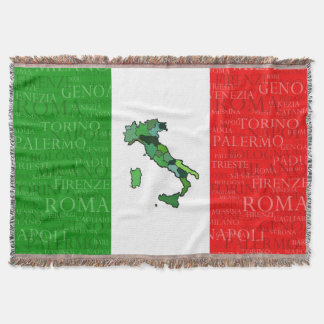 Cities, Map, and Flag of Italy Throw Blanket