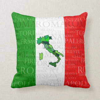 Cities, Map, and Flag of Italy Throw Pillow