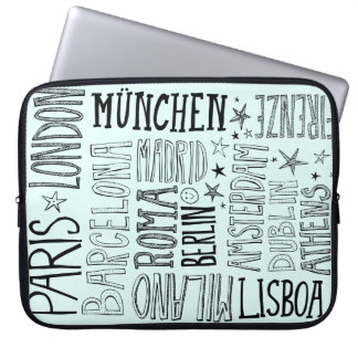 Cities of Europe Chic Modern Typography City Gifts Laptop Sleeve